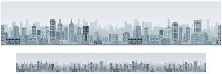 Monochrome Seamless Cityscape Banner Background Reklamní fotografie