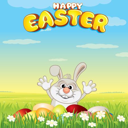 Cartoon Easter Bunny Hunting Eggs