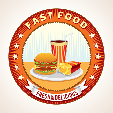 Abstract Fast Food Retro Icon Illustration