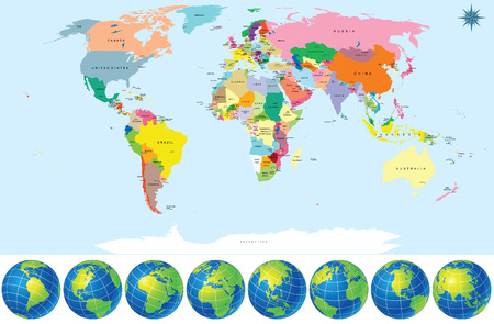 World Map With Globes Map Include All Countries With Capitals - World map of all countries