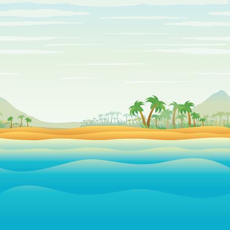 ブルーオー シャン ベクトルで静かな熱帯の島