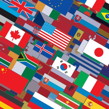 international flags: Flags Collage Backdrop