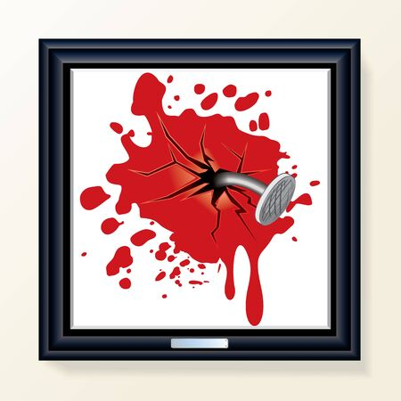 Artwork in Balck Frame on the Wall. Vector