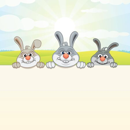 Nature Background with Three Bunny