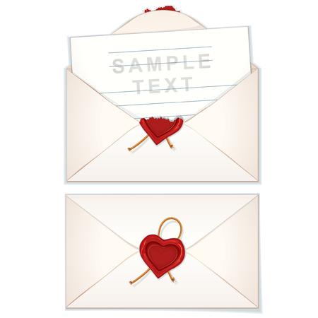 mailer: Postal Envelope with Love Letter Illustration