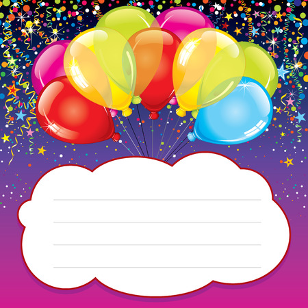 multiple birth: Party Background with Colorful Balloons Illustration
