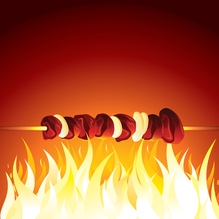 cooked meat: Grill Shish Kebab Prepared on Hot Flame. Vector