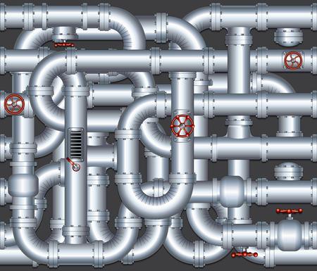 welded: Pipeline Construction Background. Vector Illustration