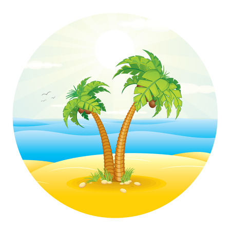 Palm Tree on the Tropical Island. Vector