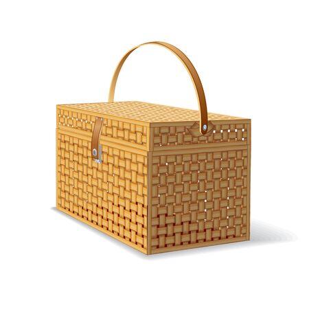 basket: Picnic Hamper. Isolated Basket Illustration
