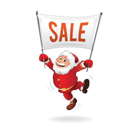 year: New Year Sale. Happy Santa with Sign