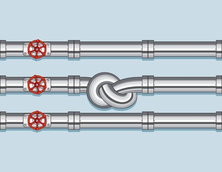 tied: Pipeline with Three pipe and one Tied in a Knot