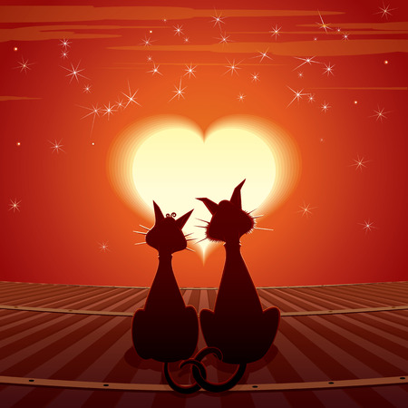 Valentines Day Card Pair of Cats on Roof Vector Stock Photo