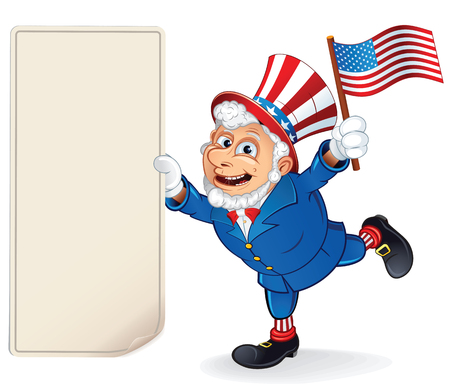 patriot act: Cartoon Uncle Sam Holding Blank Paper Bill. Vector