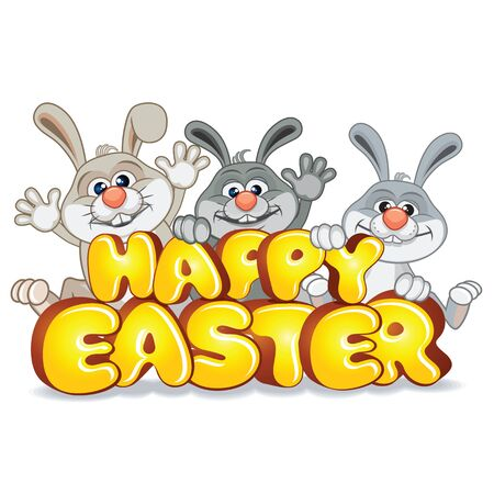Easter Bunnies with Text Happy Easter Vector