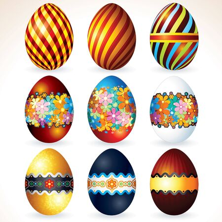 shiny gold: Various Painted Easter Eggs. Decorative Icons
