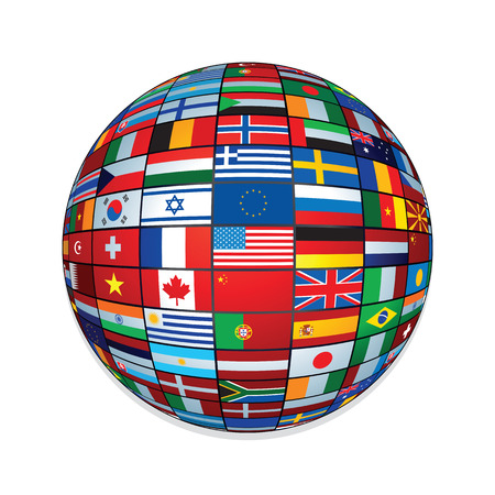 various: Flags Globe. Creative Icon for Text and Design.