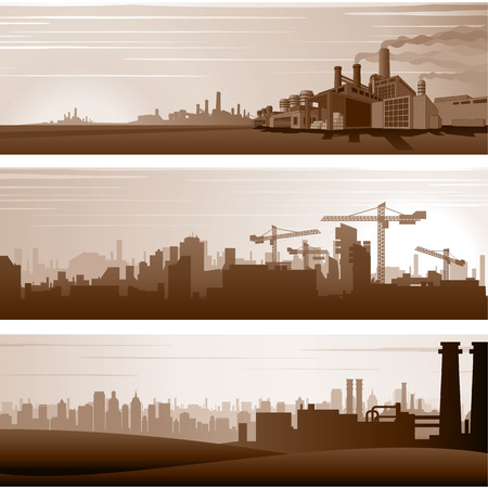 urban landscapes: Vector Industrial Backgrounds and Urban Landscapes