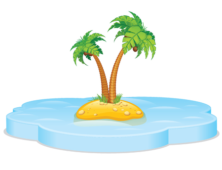 unoccupied: Tropical island. Vector Illustration
