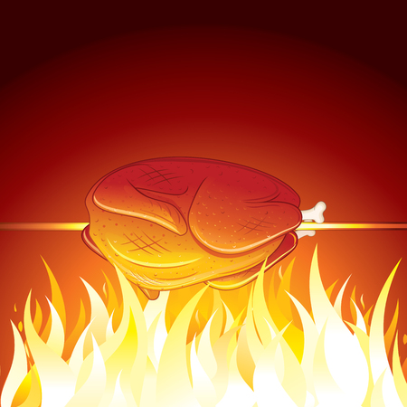 Fried Chicken Preparing on Hot Flame. Vector Image Illustration