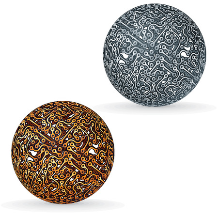 studying computer: Circuit Board Sphere. Vector Concept