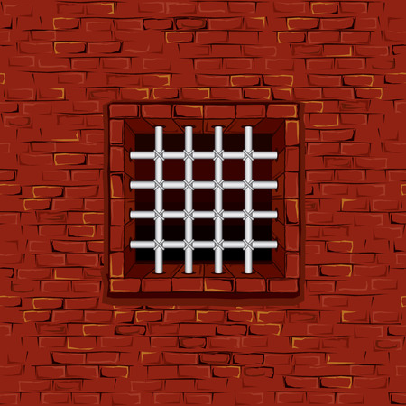 old ruin: Seamless Prison Wall with Bars, Cell. Vector