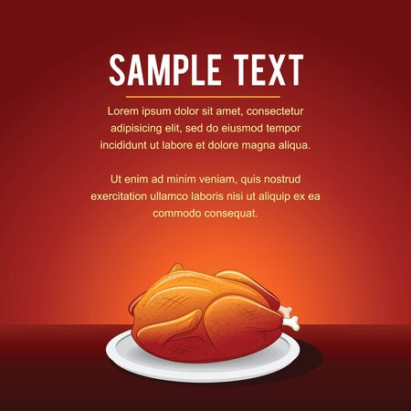 hot chick: Fast Food Vector Background Template Fried Chicken