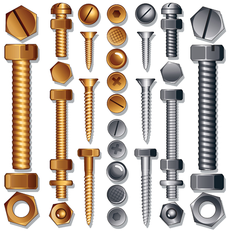 Set of Screws, Bolts, Nuts and Rivets. Illustration