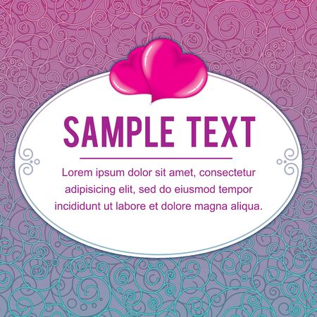 pinky: Valentine Day Frame. Pinky and Turquoise Ornamental Backdrop with Heart for Text and Design.
