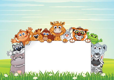 Cute Animals on Nature. Vector Cartoon Background Illustration