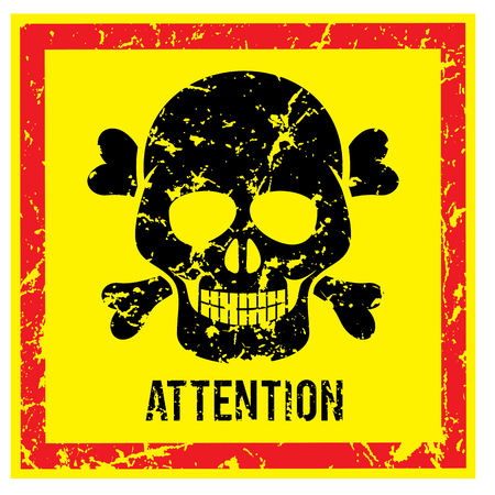 dioxin: Sign with Scull Attention and Warning Vector Image Illustration