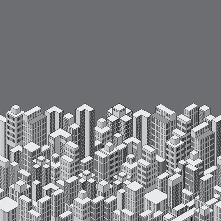 social apartment: Isometric Cityscape Background
