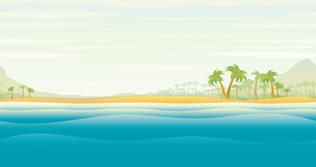 view: View on Tropical Island Lagoon with Palm Trees. Seamless Vector Scenic illustration Illustration