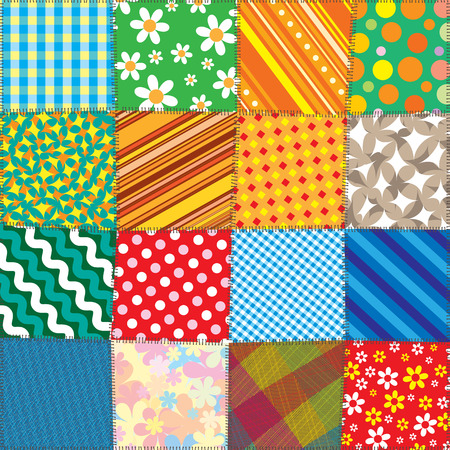 Colorful Quilt Patchwork. Vector Pattern Illustration