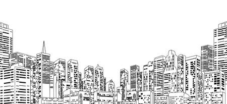 building: Line Contour Cityscape Illustration