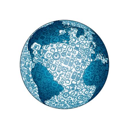communication icons: World Globe made from Social Media Icons Illustration