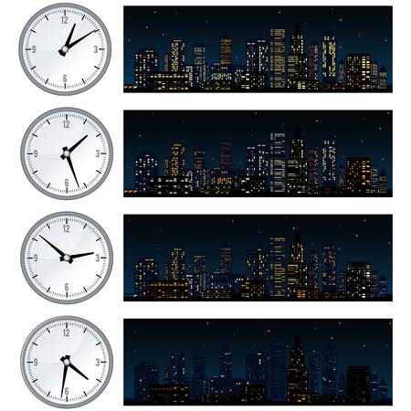 time lapse: Night Time, Midnight City Skyline. Set of Illustrations Illustration