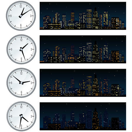 Night Time, Midnight City Skyline. Set of Illustrations Illustration