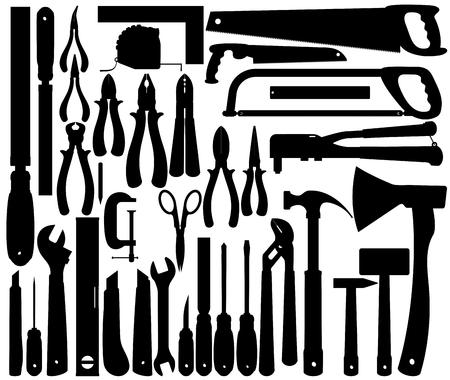 作業工具、楽器のシルエット。ベクトル