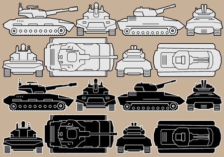 battleground: Military Equipment in pink background. Set of Armored Battle Tanks Illustration