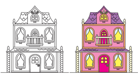 Coloring Pages for Kids. Pretty Pink Dolls House