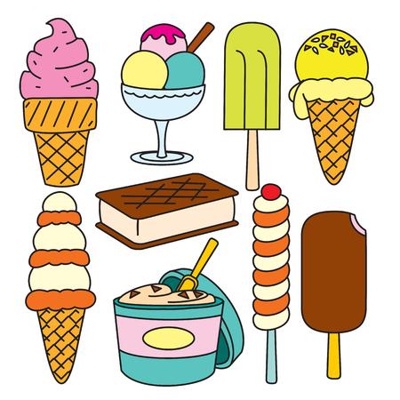 Vector Doodle set of ice cream Illustration