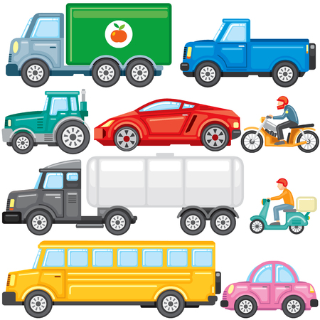 Flat Colored Cartoon Cars and Trucks Icons