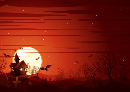 Halloween Landscape. Haunted House on Graveyard