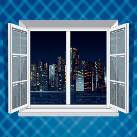 Night Cityscape View from Open Window Frame Vector