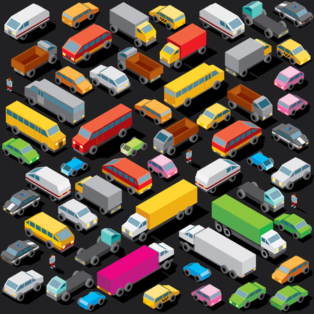3D Isometric Cars Parking. Vector Seamless Image with Lot of Various Cars and Vehicles