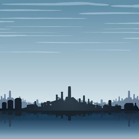 Industriële fabriekshorizon. Industrieel landschap Stock Illustratie