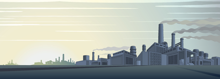 Industriële Cityscape Vector. Abstracte industriële skyline