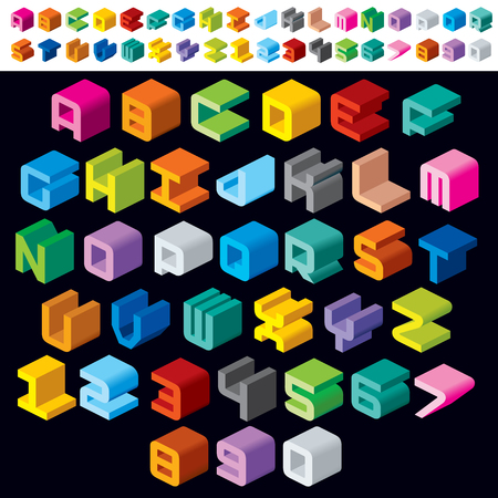 Colorful Isometric 3d Type Font set. Vector Set Illustration
