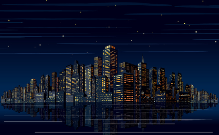 Night Skyline Vector. Cityscape Vector Vettoriali